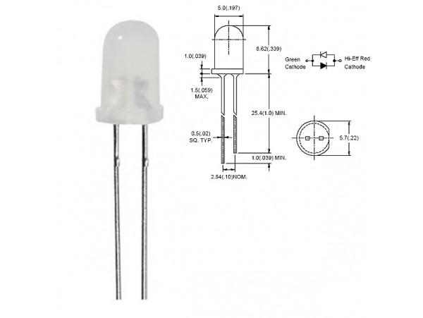 LED BL-BEG274 (зел.кр.2 поляр.d=5 50мКд)
