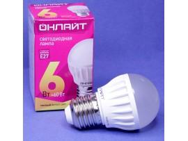 Лампа 220V 6W G45 E27 шар св/д теплый белый 2700K