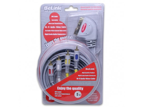 Шнур СК=4RCA DeLink 5,0м пластик
