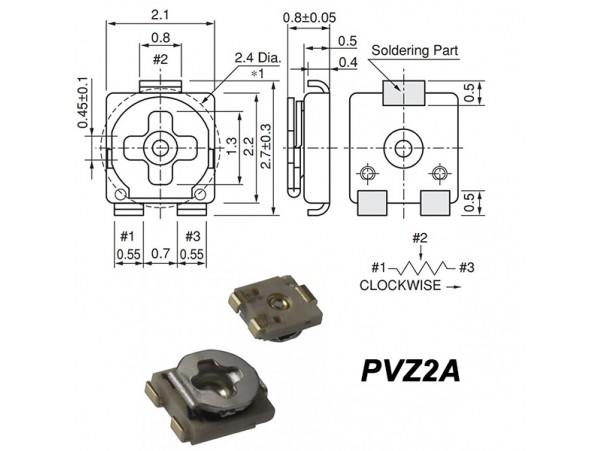 Рез. 200к PVZ2A smd 2.1х2.2 Trim