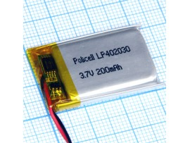 LP402030 Li-POL Аккумулятор 3.7V 190mA