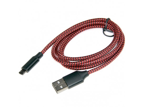Шнур USB=micro USB 1м красный