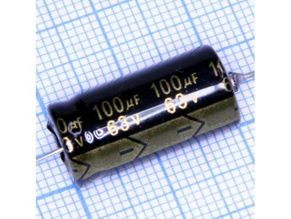 Конд.100/63V  1021+105°С (аксиал)