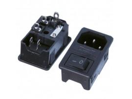 JR-101-1FRS-1.5-G(AC-013) Разъем сетевой с выключателем