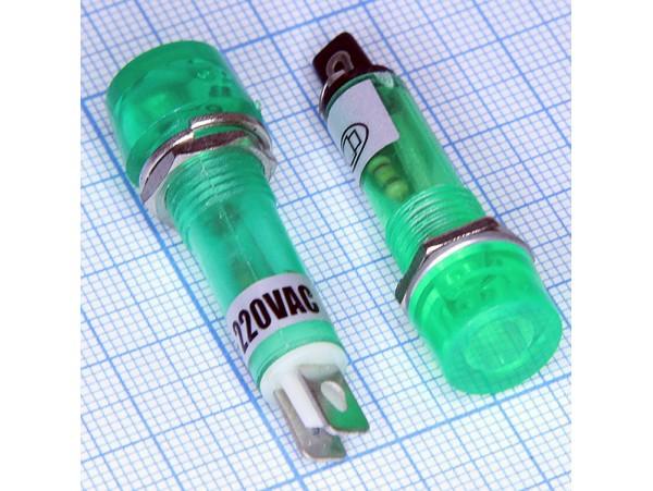 TPN-112G зел. Лампа неон.220V с резистором, d 12 мм