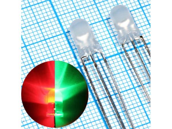 LED L-3WEGW кр/зел d=3