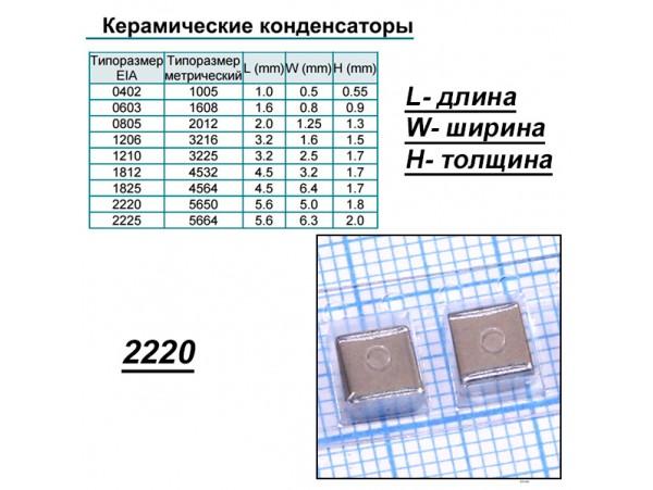 Конд.2220 100/6,3V X5R ЧИП
