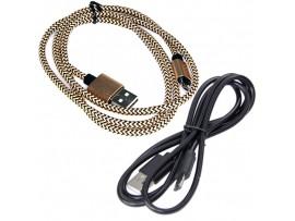Шнур USB=micro USB 1м золотой