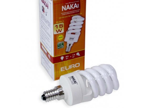 Лампа 220V 15W E14 SPC энергосб.  Nakai
