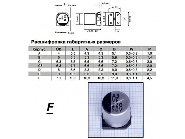 Конд.220/50V ELV-F 1010