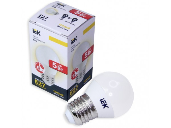 Лампа 220V 5W E27 св/д теплый белый 3000k
