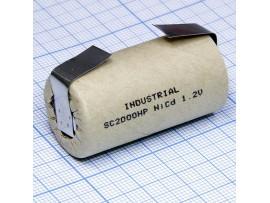 Аккумулятор 1,2V/2000 (d=23;L=43) NiCd с лент. выводами