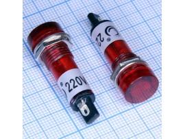 N-805 R лампа красная неон.220V с резистором, d 12 мм
