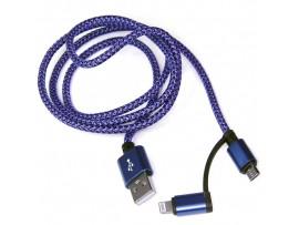 Шнур USB=micro USB 1м синий