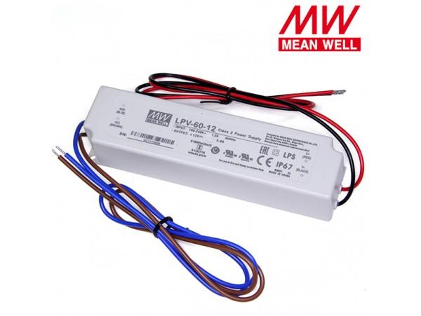БП LED 12V 0-5A 60W  LPV-60-12, IP67