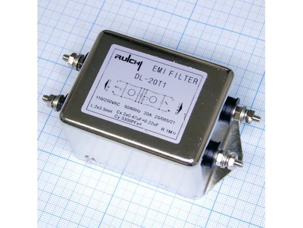 DL-20T1 фильтр сетевой 1-фазный, 250V/20A