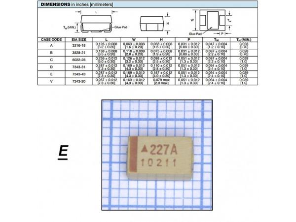 Конд.220/16V D SMD 227M016V