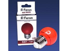 Лампа LED 1W/230V E27 Red, шар красный