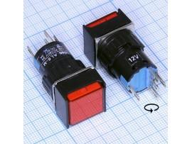 AL6-M12V кнопка с подсв. 12V, без фикс. крас., 250V/3A