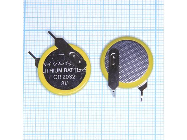 CR2032/1VC3 батарея 3V, 2 вывода, 10мм, вертик.