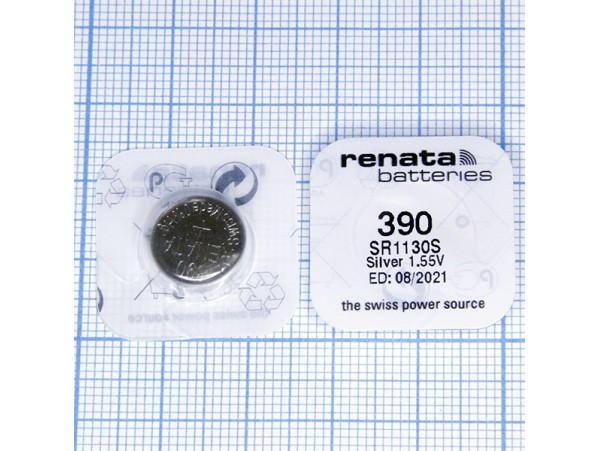 Элемент питания 1,55V AG10, SR1130SW, 390/389 Renata