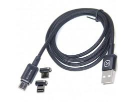 USB дата кабель microUSB (3 в1) с магнитным адаптером