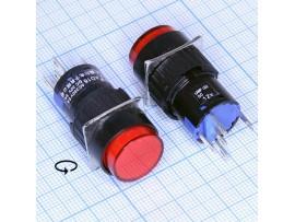 AL6-A12V кнопка с подсв. 12V, c фикс. крас., 250V/5A