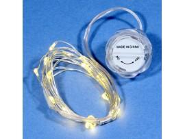 Гирлянда 20LED теплый белый, 2м, Роса+2хCR2032