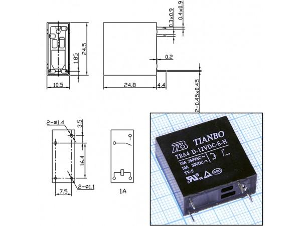 TRA4D-12VDC-S-H Реле 12VDC/10A