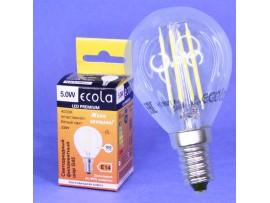 Лампа 220V 5W E14 4000К св/д филаментный шар G45 Ecola