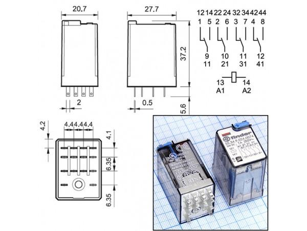 Реле 553490240074 Finder 24VDC (7A/250V)