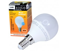 Лампа 220V 5,4W E14 4000К св/д Ecola шар G45