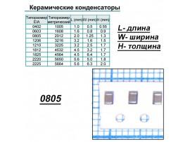 Конд.0805 0,01µF X7R 10% ЧИП 50В