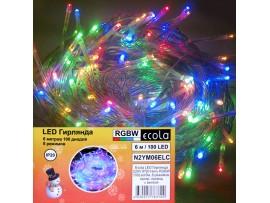 Гирлянда 100LED RGB, 6м, 8 реж.Ecola