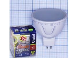 Лампа 220V 5W диммир.LED JCDR MR16 теплый белый матовая