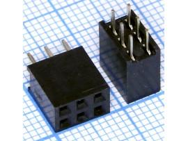 PBD-6 2.54 Розетка 6к.(2х3) на плату