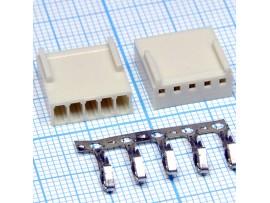 HU-5 2,54 розетка 5к.на кабель