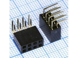 PBD-8R 2.54 Розетка 8к.(2х4) на плату уголовая